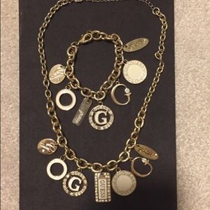 2/$20 Guess jewelry gold charm bracelet&necklace